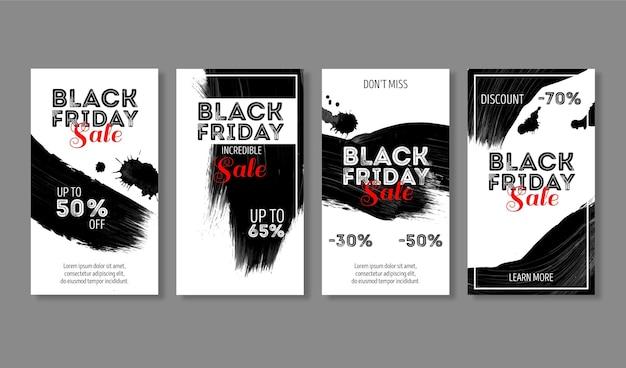 Aquarel vlek zwarte vrijdag instagram-verhalen