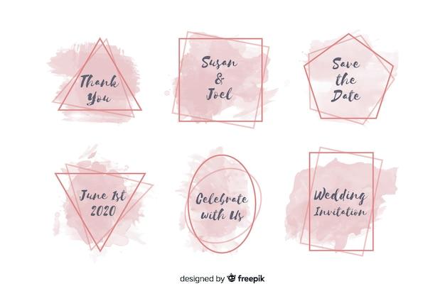Aquarel vlekken bruiloft badge collectie