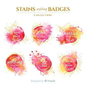 Aquarel vlekken bruiloft badges collectie