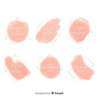 Aquarel vlekken bruiloft badges collectie