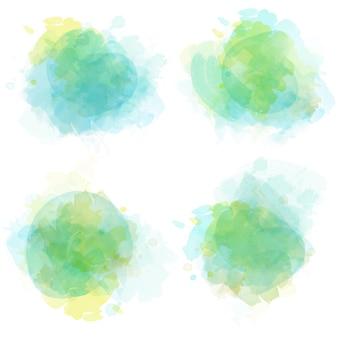 Aquarel vlekken set geïsoleerd op wit