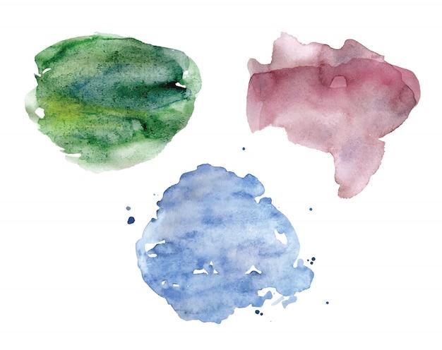 Aquarel vlekken set. pastelkleuren