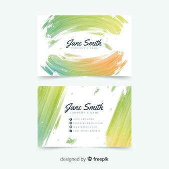 Aquarel vlekken visitekaartjesjabloon