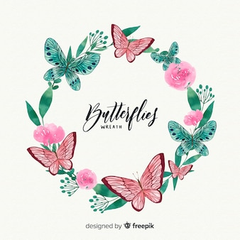 Aquarel vlinder krans