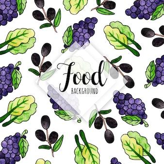 Aquarel voedsel achtergrond