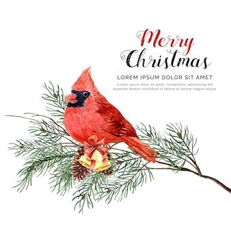 Aquarel vogel kerstmis met pijnboom en bell.