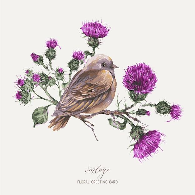 Aquarel vogel op een tak met distel wenskaart botanische illustratie