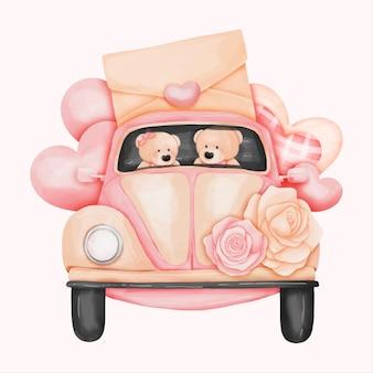 Aquarel volkswagen beetle met berenpaar, valentijnskaart