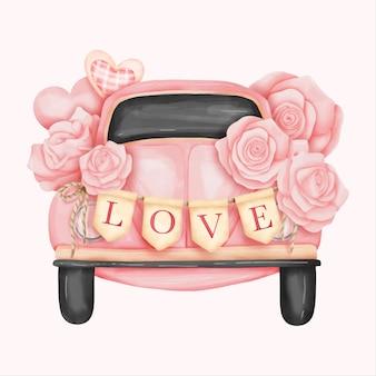 Aquarel volkswagen beetle, valentijnsdag kaart