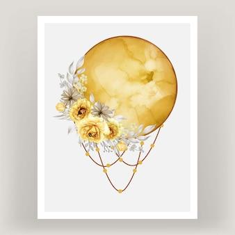 Aquarel volle maan gele schaduw met roze bloem