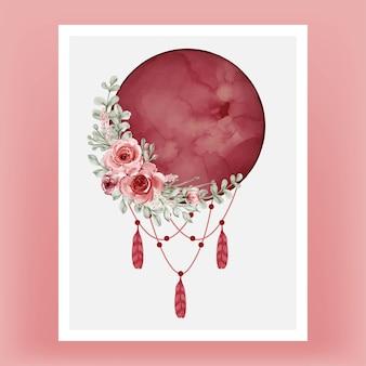 Aquarel volle maan in rood bordeaux met bloem