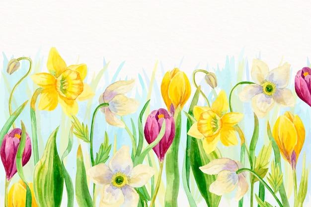 Aquarel voorjaar achtergrond met bloemen