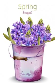 Aquarel voorjaar boeket van orchideebloemen in een paarse oude emmer