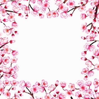 Aquarel voorjaar frame met sakura takken, kersen bloeien.