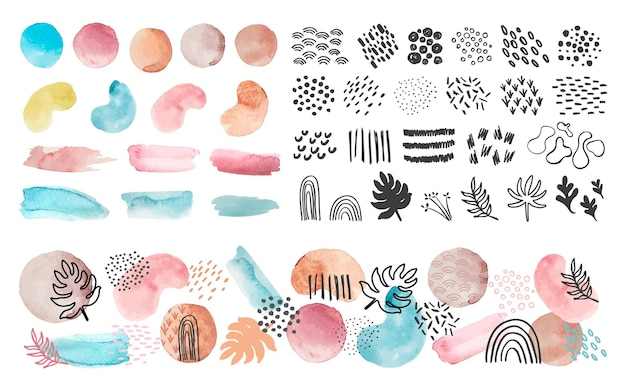 Aquarel vormen, lijnen en patronen. abstracte kunst spatten en penseelstreken. trendy verftextuur, stippen en blad vector set. illustratie aquarel print eigentijds, grafische lijn en vorm