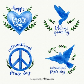 Aquarel vrede dag labelverzameling