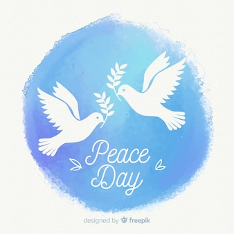 Aquarel vrede dag samenstelling met mooie duif