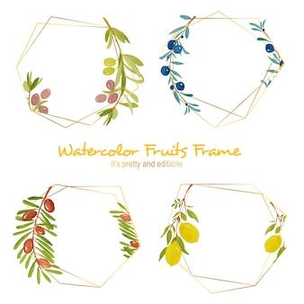 Aquarel vruchten frame
