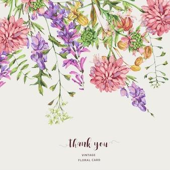 Aquarel weide zomerbloemen, wilde bloemen. botanische bloemen wenskaart. medicinale bloemen collectie