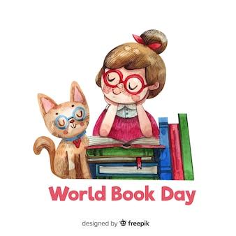 Aquarel wereld boek dag achtergrond