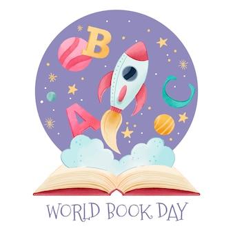 Aquarel wereld boek dag concept