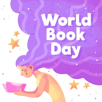 Aquarel wereld boekdag concept