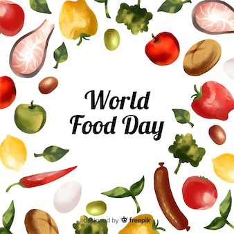 Aquarel wereld eten dag