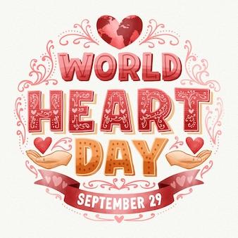Aquarel wereld hart dag belettering achtergrond met harten