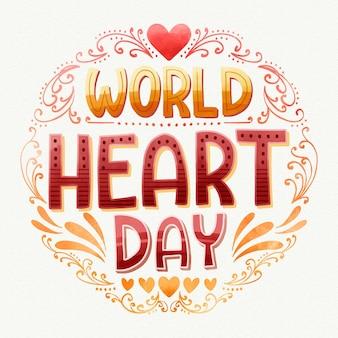 Aquarel wereld hart dag belettering