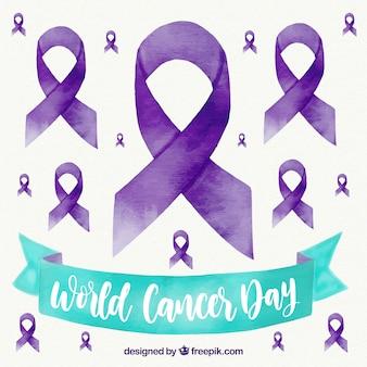 Aquarel wereld kanker dag achtergrond met paarse linten