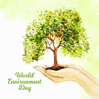 Aquarel wereld milieu dag concept