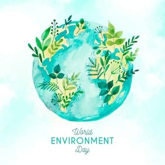 Aquarel wereld milieu dag met de natuur