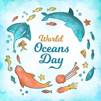 Aquarel wereld oceanen dag concept