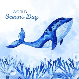 Aquarel wereld oceanen dag