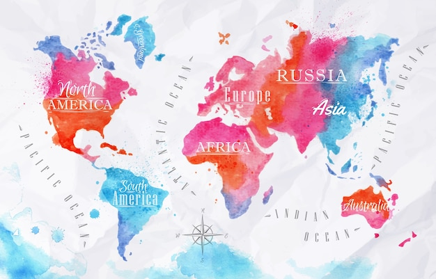 Aquarel wereldkaart
