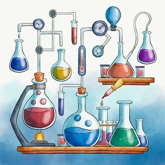 Aquarel wetenschappelijk laboratorium