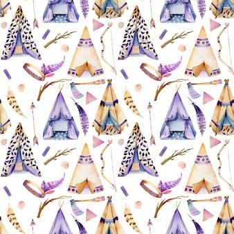 Aquarel wigwams naadloze patroon