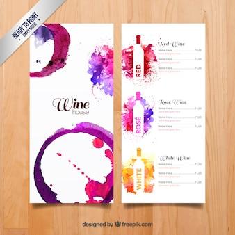 Aquarel wijnen menu