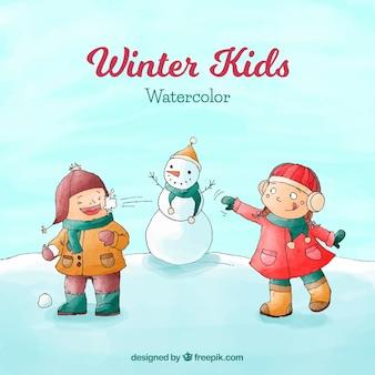 Aquarel winter achtergrond met kinderen en een sneeuwpop