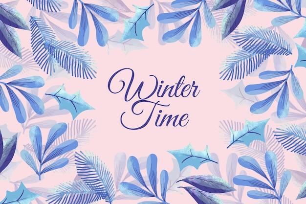 Aquarel winter achtergrond met takken