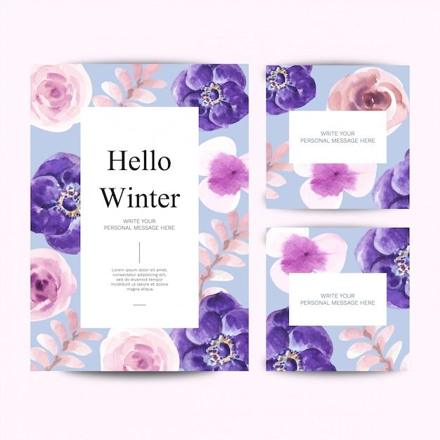Aquarel winter bloei kaartsjabloon en elementen vector