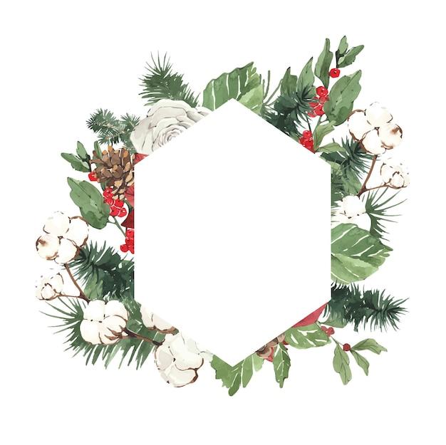 Aquarel winter kerst frame met dennennaalden en bloemen
