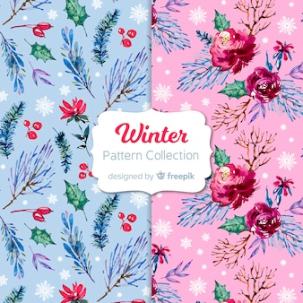 Aquarel winter patroon collectie