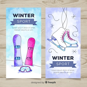 Aquarel winter sport sjabloon voor spandoek