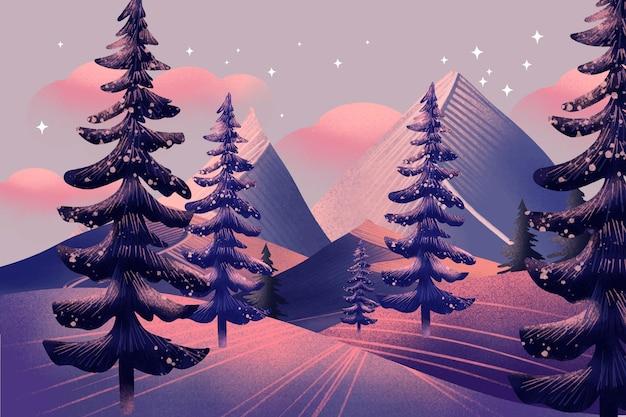 Aquarel winterlandschap