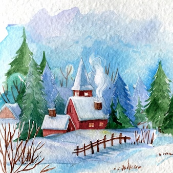 Aquarel winterlandschap