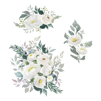 Aquarel witte bloemboeket
