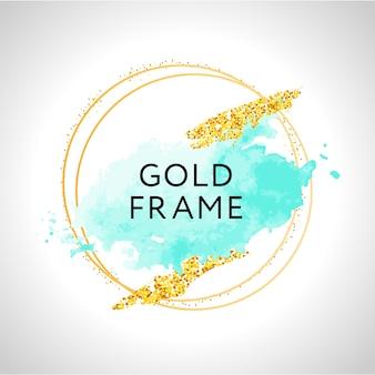Aquarel witte en turquoise penseelstreken en rose gouden frame.