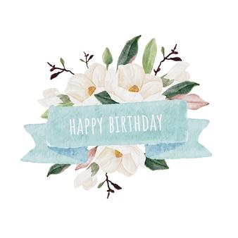 Aquarel witte magnolia met blauw lint tag tekst kopie ruimte voor logo of banner achtergrond