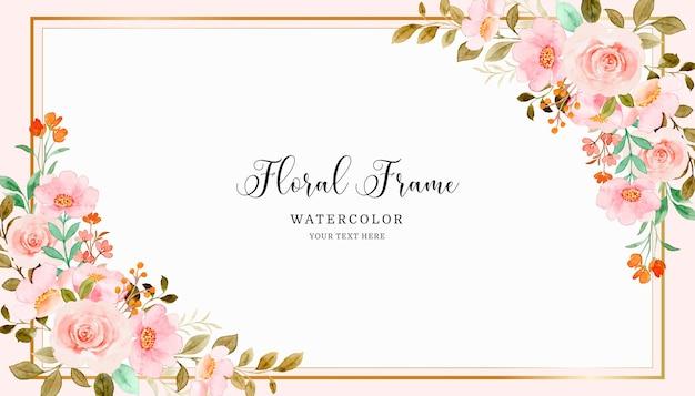 Aquarel zacht roze bloemen frame achtergrond